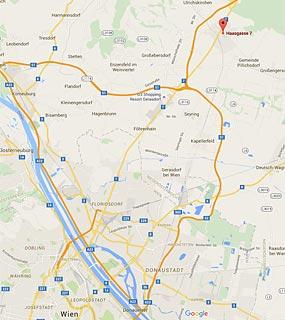Kartenansicht Haasgasse 7, 2120 Wolkersdorf. Nur 10 Minuten von 1220 Wien!